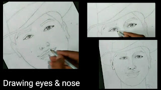 How to draw the eyes nose and skin for Bhagat Singh,