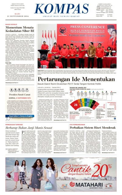 Kompas Edisi Rabu 21 September 2016