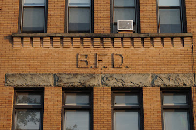 Brick B.F.D. initials on Brooklyn Fire Department Engine Company 38 Building