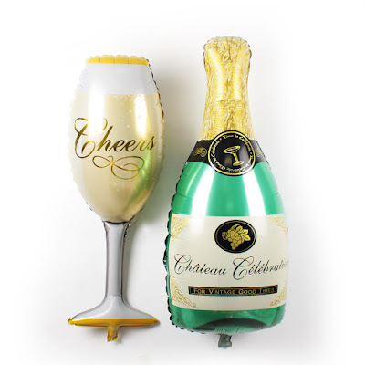 Balon Foil Champagne Bottle + Glass