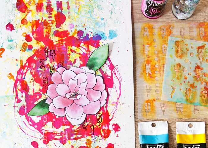 close-up of the page made using 5 Ways to Use stencils with StencilGirl and Kim Dellow