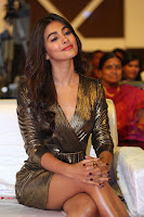 Pooja Hegde looks glamarous in deep neck sleevless short tight golden gown at Duvvada Jagannadham thank you meet function 137.JPG