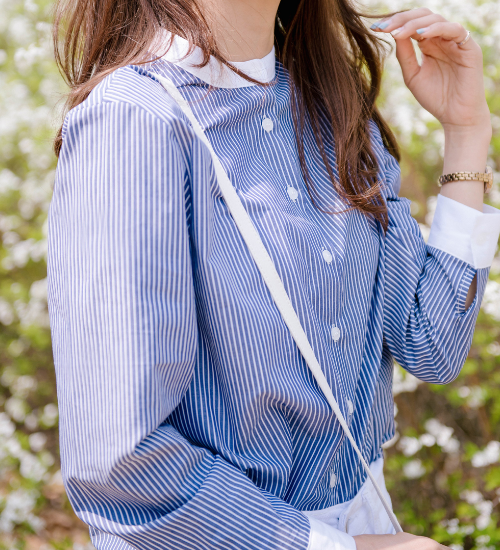 Contrast Mandarin Collar Button-Down Shirt