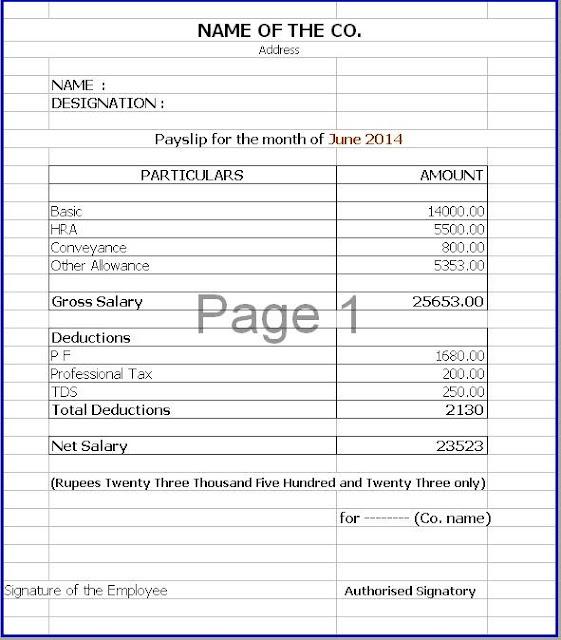 Payslip Format In Word - sarahepps -