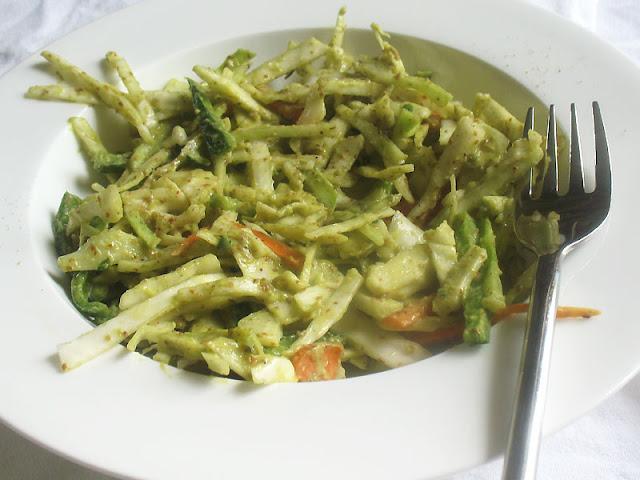 Vegan coleslaw dressed with avocado
