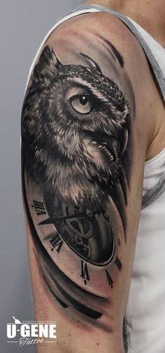 Unique owl tattoo designs with clock