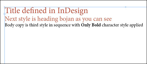 MS Word file with imported styles from InDesign placed in InDesign document