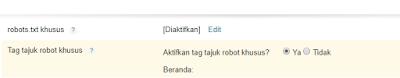 aktifkan tag tajuk robot
