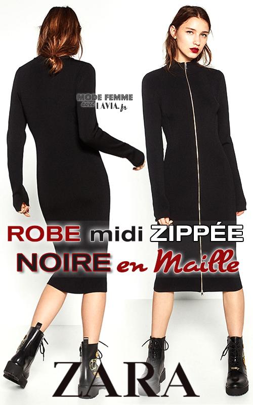 Zara Robe En Maille Zippée Longueur Noire Midi c3Lq4j5AR