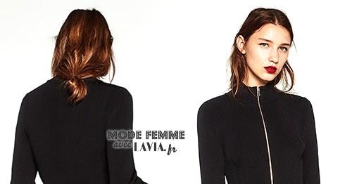 Zippée Midi Robe Zara Noire En Maille Longueur MVqpSUz
