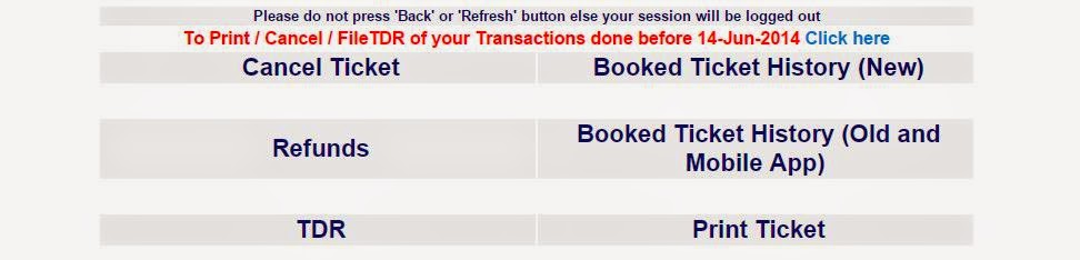options for printing and canceling tickets; and to file tdr, and see refund status on irctc