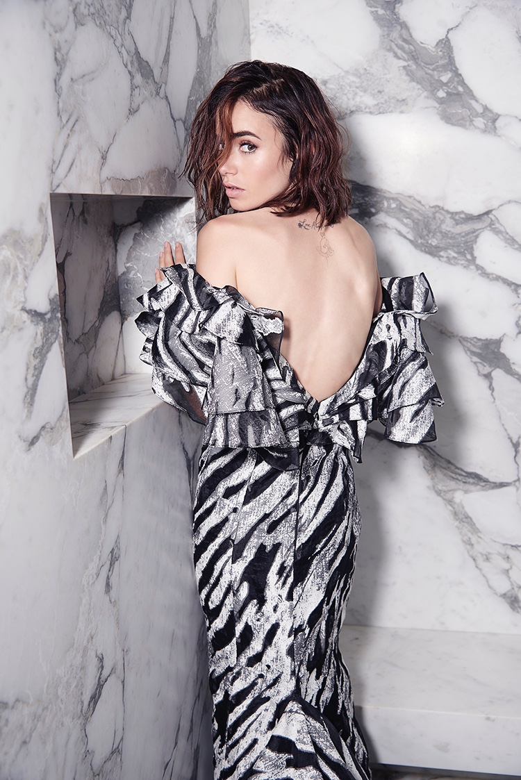 Lily Collins wears Christian Siriano dress