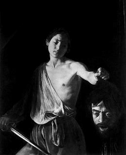 """Mio ritocco del """"Davide con la testa di Golia"""" del Caravaggio, olio su tela (125x100 cm) realizzato tra il 1609 ed il 1610. Però neanche Caravaggio era abbastanza chiaroscurale per me, nonostante mi piaccia proprio! Click sul link qui sotto per maggiori informazioni. L'alternativa sarebbe stata """"Giuditta e Oloferne"""" sempre del Caravaggio ma mi sembrava avere qualcosa di troppo ieratico, non so."""