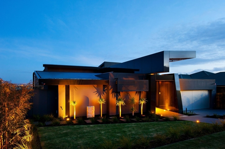 Black facade on Dream home in black and blue