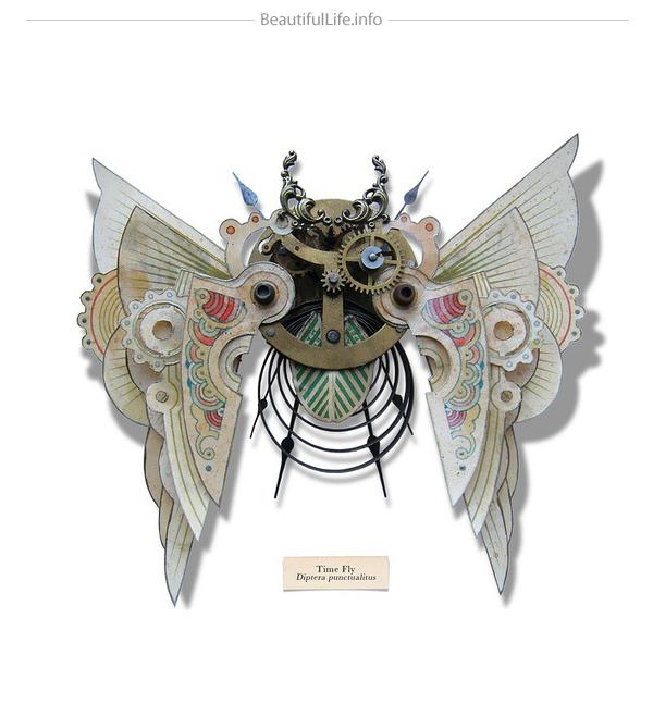 Insecto hecho con objetos reciclados