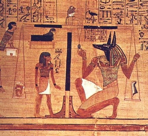 Representação do Livro dos Mortos e do deus Anubis