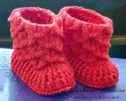 Extremamente Fino Crochet: BOTINHA CROCODILO EM CROCHÊ FS06