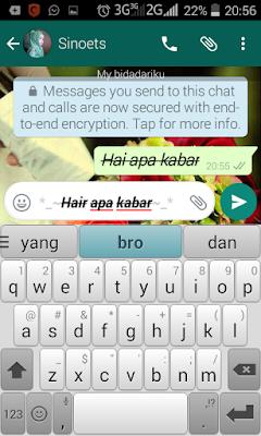cara membuat huruf tebal, miring, dicoret pada whatsapp