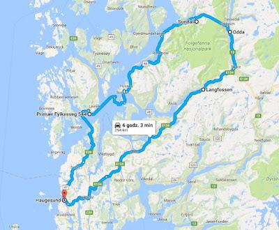 Mapa wyprawy na lodowiec Folgefonna w Norwegii