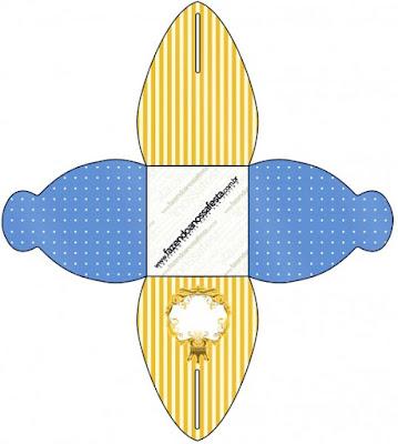 Caja para cupcakes, chocolates o golosinas de Corona Dorada en Azul y Amarillo.