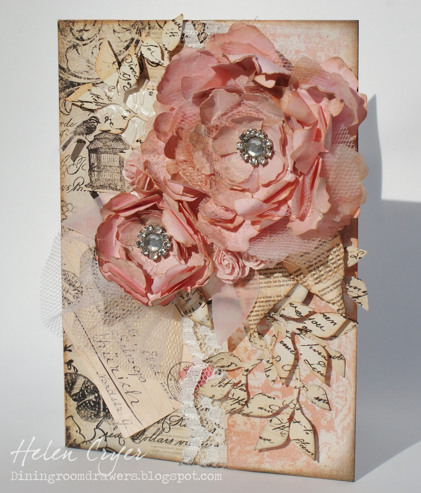 the dining room drawers tattered florals card