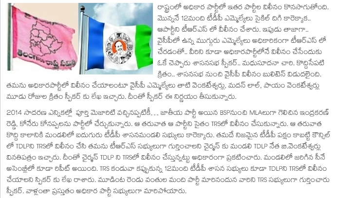 3 YCP MLAs Merged with TRS  Speaker Approved YCP MLAs Letter