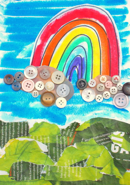 Invitation to create with buttons- make button art collages with the kids- rainbow
