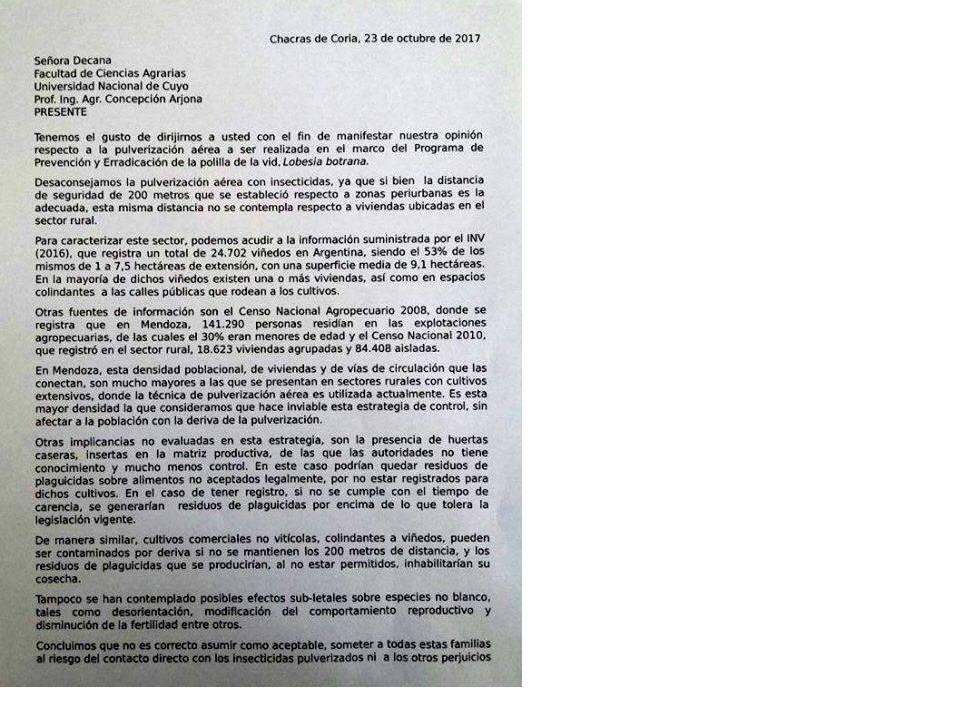Argentina. Solicitud a la UN de Cuyo por fumigaciones   Beatriz Achával