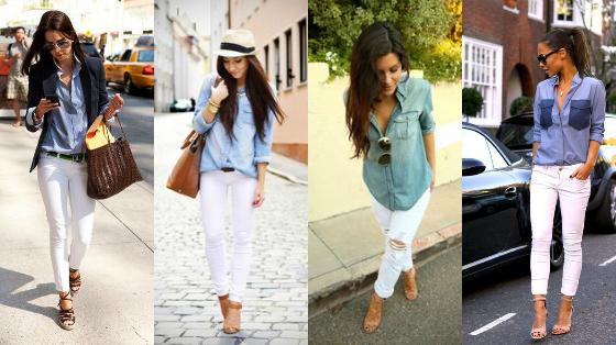 camisa jeans com calca branca