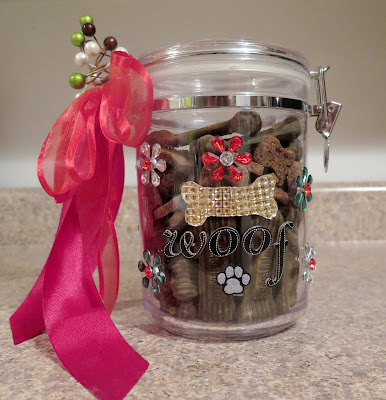 A homemade treat jar filled with Natural Balance dog treats makes a great DIY gift!  Handmade by you with LOVE for a special dog