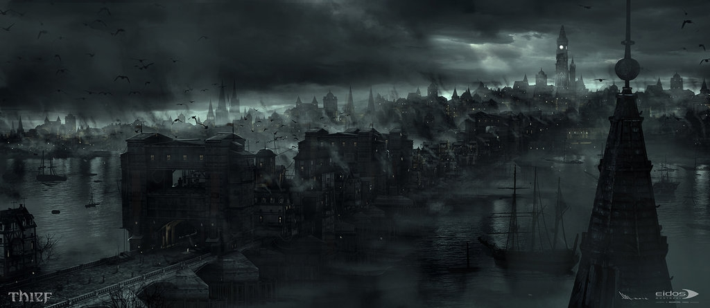 13-The-City-Mathieu-Latour-Duhaime-Concept-Art-for-Thief-Steampunk-feel-Video-Game-www-designstack-co