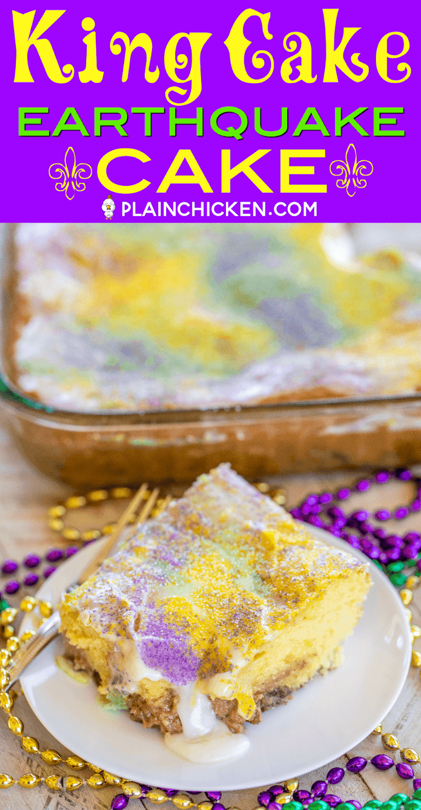 King Cake Earthquake Cake - perfect ending to your Mardi Gras party!! Yellow Cake with pecans and cream cheese. YUM! Cake mix, pecans, cream cheese, butter, powdered sugar, vanilla. Top the cake with a quick glaze and colored sugar. A fun twist on King Cake! Great for dessert or breakfast! #cake #dessert #mardigras #kingcake