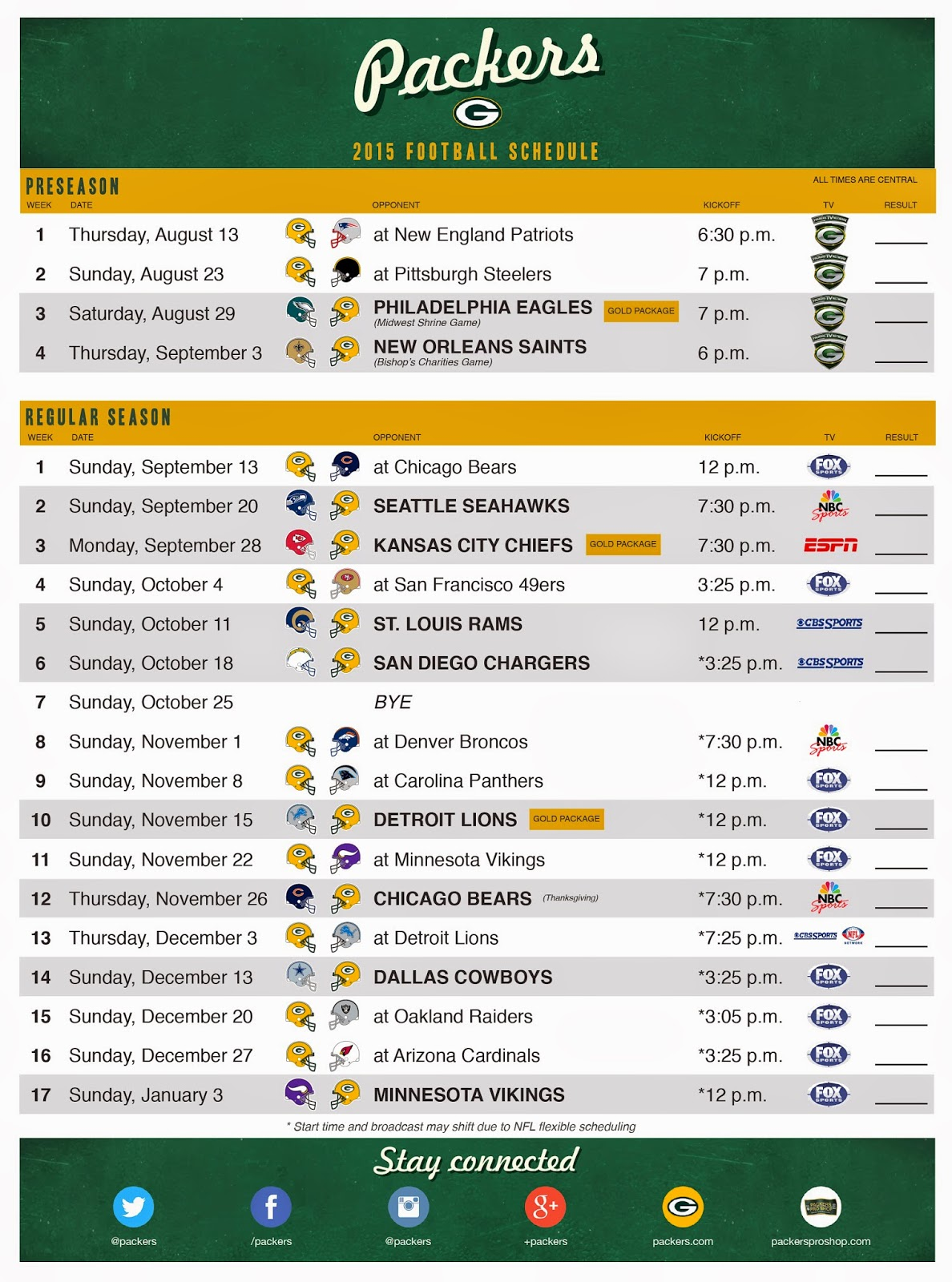 picture relating to Green Bay Packer Printable Schedule referred to as Packerville Printable 2015 NFL Timetable : GreenBayPackers