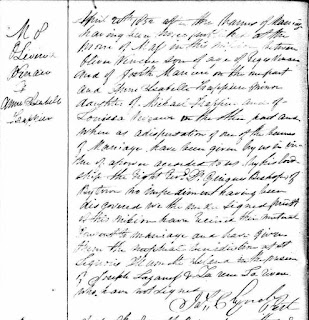 Olivier Vanasse and Elizabeth Frappier 1852 marriage record