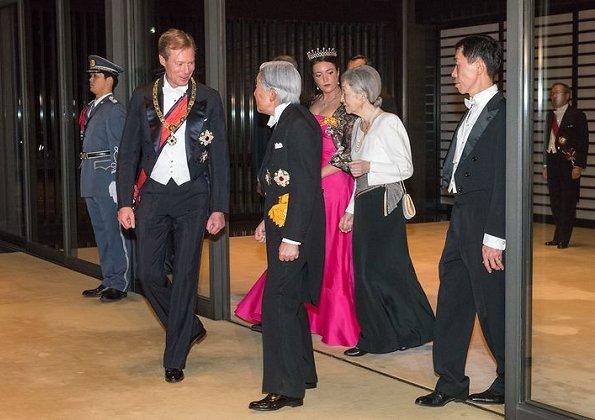 Duke Henri, Princess Alexandra, Emperor Akihito, Empress Michiko, Prince Naruhito, Princess Masako