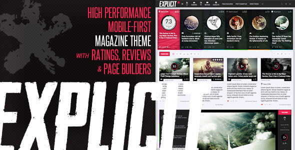 Download Free Explicit WordPress Theme v.2.6 – ThemeForest | Explicit v2.6 – High Performance Review/Magazine Theme (Updated on 7th October 2017) is a fully high performance and Mobile First Premium Theme especially designed for Magazine news, Ratings, Reviews having great easy to use professional page builder. It has great stunning functions such as amazing image slider for your unique branded news posts.
