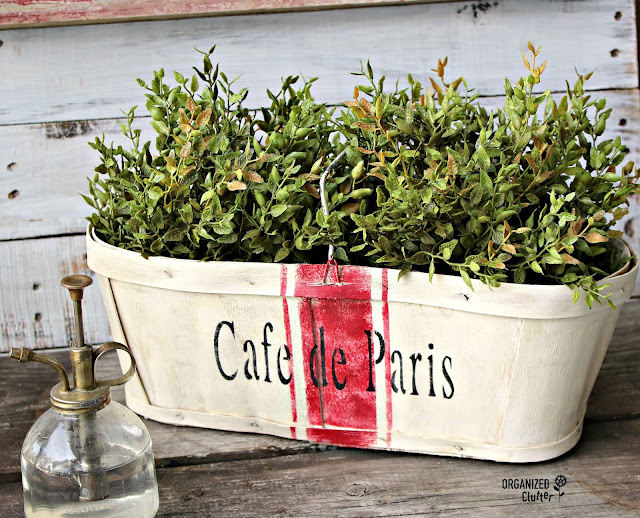 Upcycled Berry Basket with Paint, French Living and Grain Sack Stripe Stencils