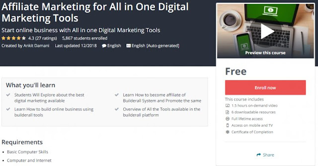 [100% Free] Affiliate Marketing for All in One Digital Marketing Tools