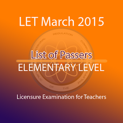 LET March 2015 list of passers elementary level