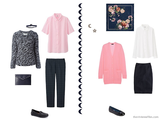 2 navy and pink travel outfits