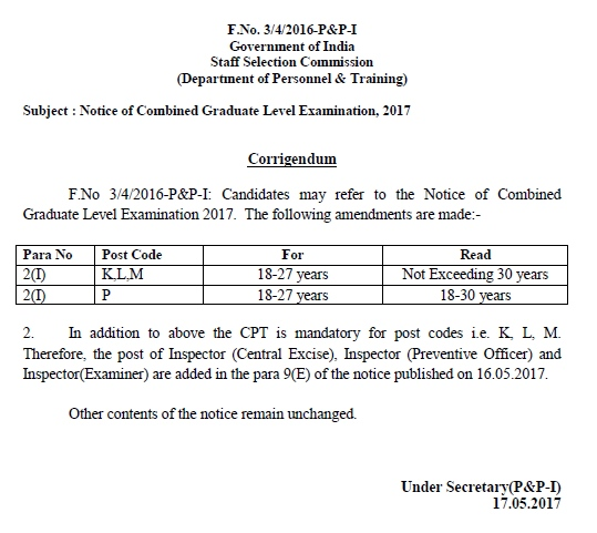 SSC CGL Notification 2017 Exam Date Online Registration