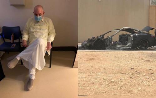الأمير محمد بن خالد بن طلال تعرض لحادث حريق سيارتة