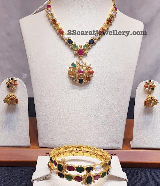 Simple Navaratan Necklace Bangles