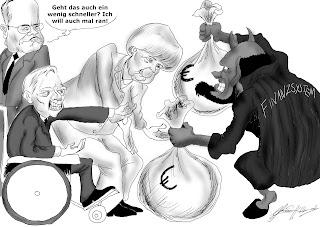 Christian Hildebrandt, Karikatur, Finanzsytem, Zins, Zinseszins, Schäuble, Angela Merkel, Steinbrück, Wahlen 2013