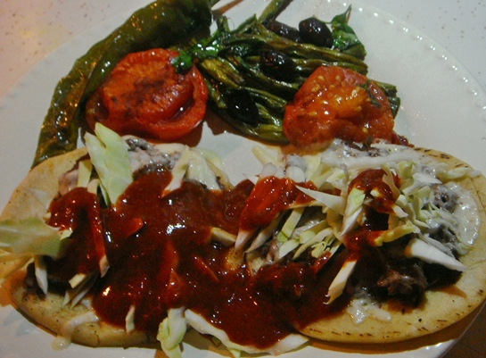 II. Black Bean Tostados with Shredded Cabbage and Chipotle Sauce