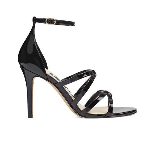 Sandale negre elegante lacuite piele ecologica cu toc inalt de ocazii