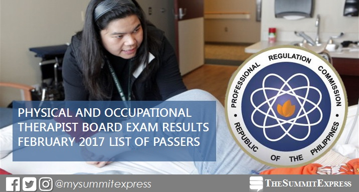 February 2017 Physical, Occupational Therapist (PT-OT) board exam results