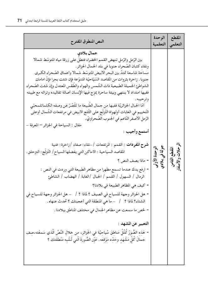 نص جمال بلادي السنة الرابعة ابتدائي الجيل الثاني - فهم المنطوق