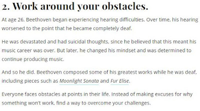 """Work around your obstacles"" and some more comments to that effect."