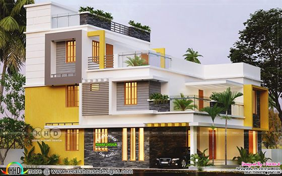 4 BHK architecture home design in contemporary style